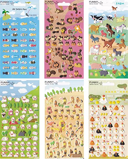 Funny sticker cute animal puffy stickers set 1
