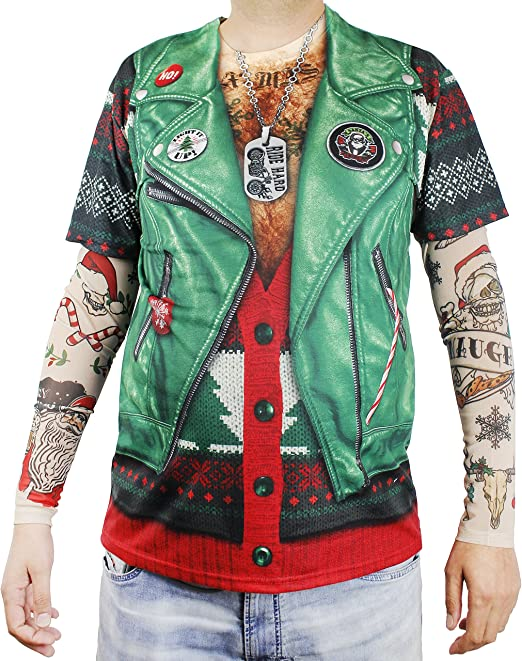 Biker Top for Adults Size X-Large Funny Christmas Shirt with Tattoo Sleeves