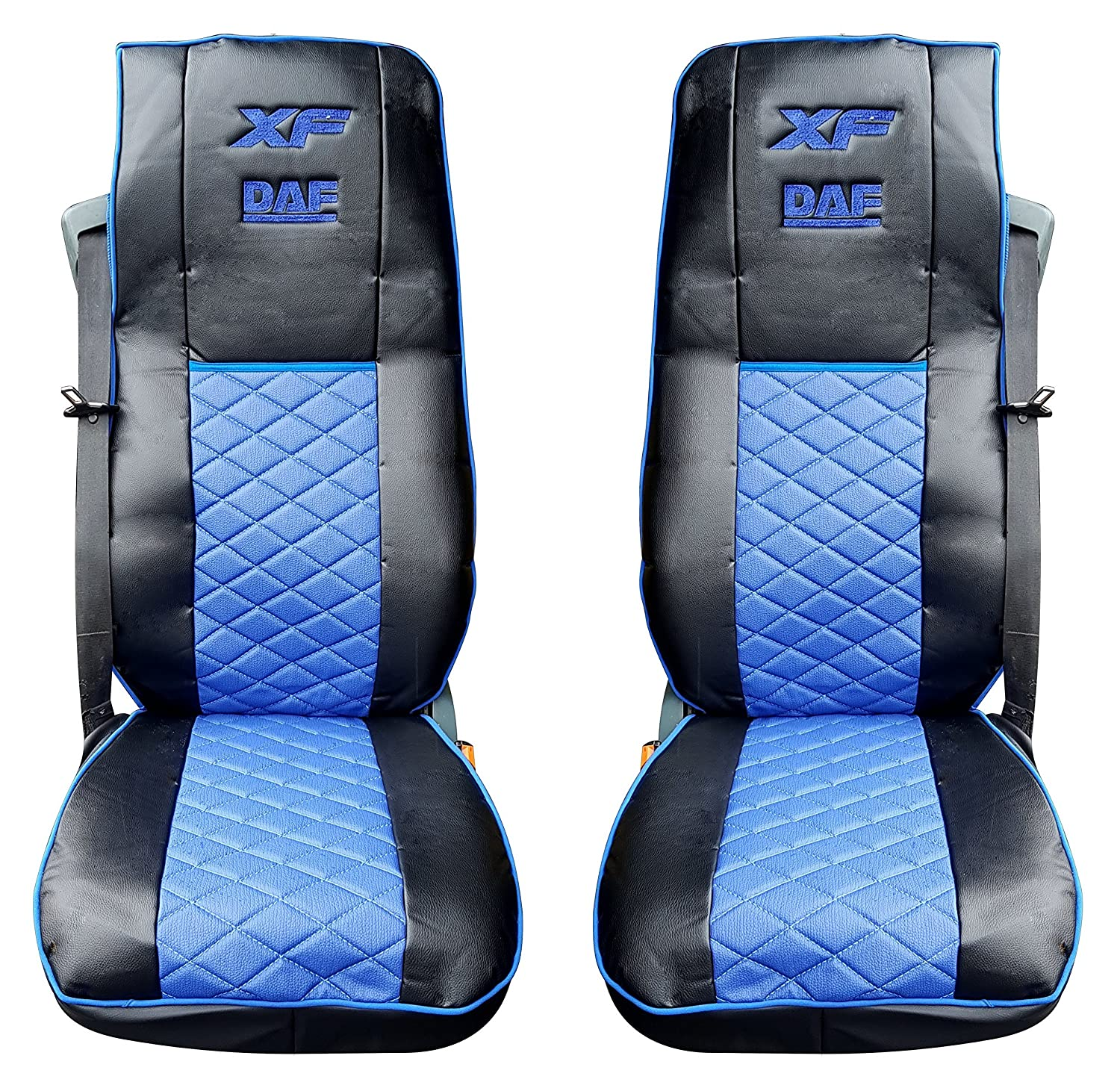 Set of 2 Pcs. High Quality Truck Seat Covers Protectors Cabin Trucker Accessories Decoration BLACK BLUE Colour 100% Eco Leather Unknown