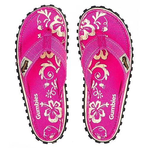 f92758ce0664ed Gumbies - Islander Canvas Flip-Flops - Women s - Pink Hibiscus (US (W