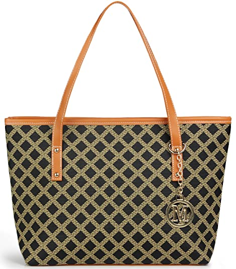 d2709f358be3 Amazon.com  Micom Casual Signature Printing Pu Leather Tote Shoulder Handbag  with Metal Decoration for Women (Black Grid)  Shoes