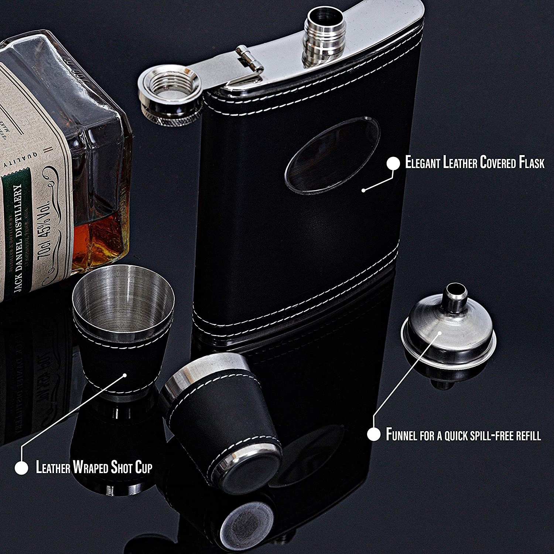 flasque Cadeau KAV Flasque avec Coffret Cadeau Flasque avec Entonnoir et 4 Tasses /à Shot en Acier Inoxydable Entonnoir