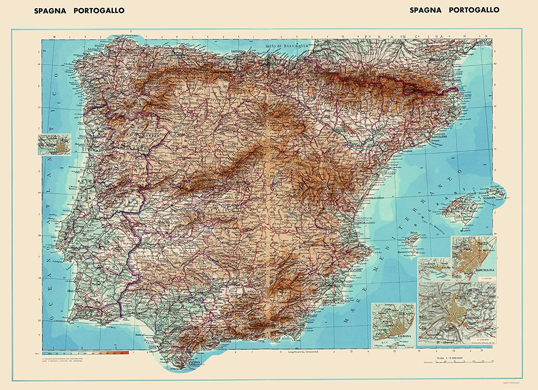 Amazon.com: Old Iberian Peninsula Map - Spain and Portugal - Di ...
