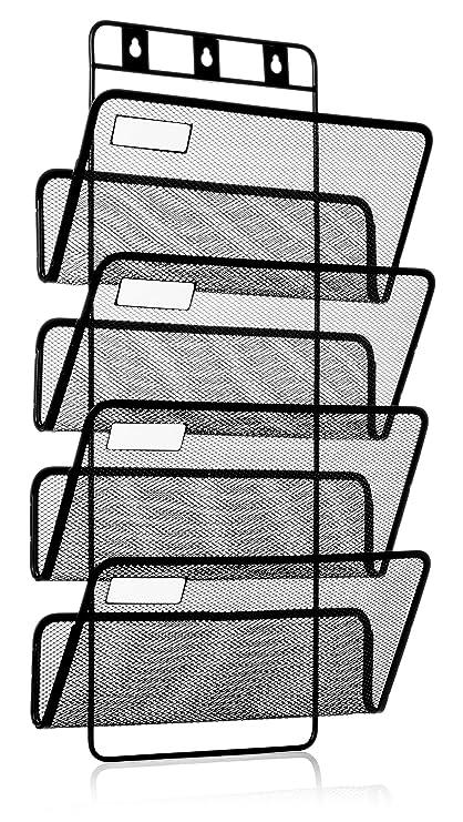 Archivador de cuatro niveles para colgar en la pared. Con organizador de carpetas, accesorios