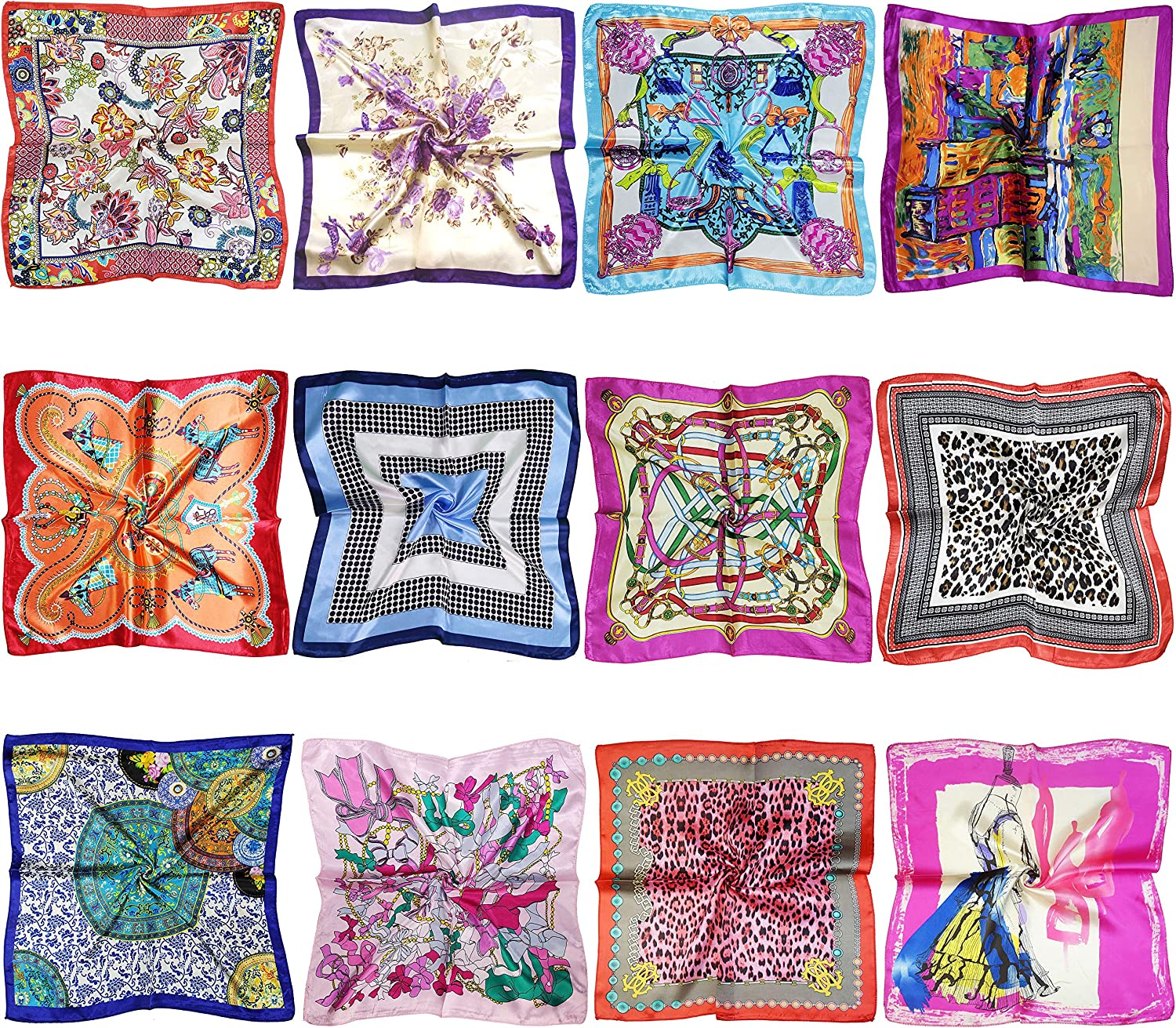 12 Set Mixed Designs Small Square Satin Womens Neck Head Scarf Scarves Bundle