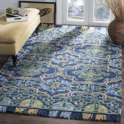 Safavieh Blossom Collection BLM422A Floral Vines Navy and Green Premium Wool Area Rug 8' x 10'