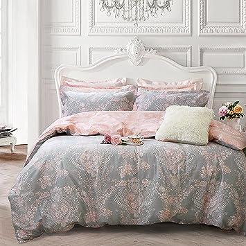 Brandream Blush Pink Bedding Sets Full Size Girls Damask Flower Bedding  100% Cotton Duvet Cover Set 3-Piece(Comforter not Included)