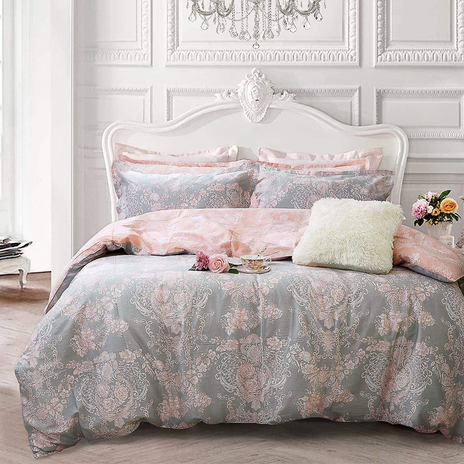 girls bedding Amazon.com: Brandream Blush Pink Girls Bedding Set 100% Cotton Damask  Floral Bedding Zipper Duvet Cover Set Twin-Twin XL: Home u0026 Kitchen