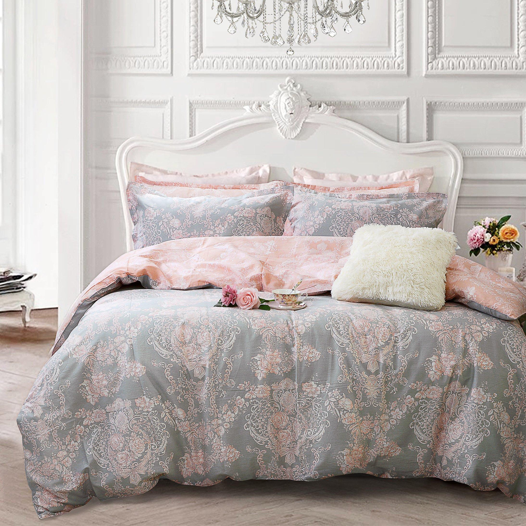 Brandream Blush Pink Bedding Sets Queen Size Girls Damask Flower Bedding 100% Cotton Duvet Cover Set 3-Piece(Comforter not Included)