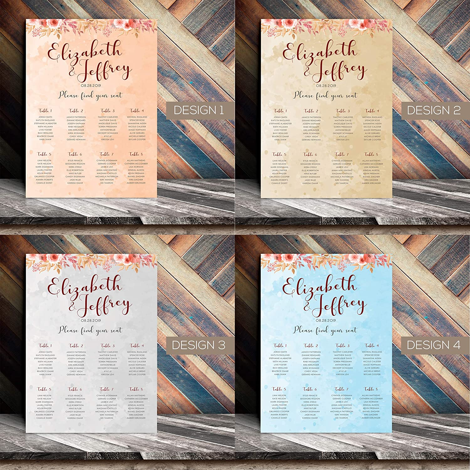 A1 Personalised Table Plan 315