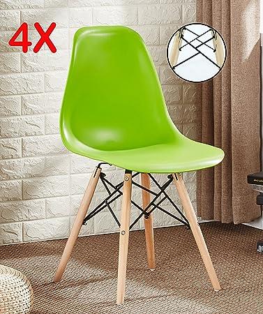 Pu0026N Homewares Set Von 4 Romano DS Moda Stuhl Kunststoff Retro Esszimmer  Stühle Weiß Schwarz Grau