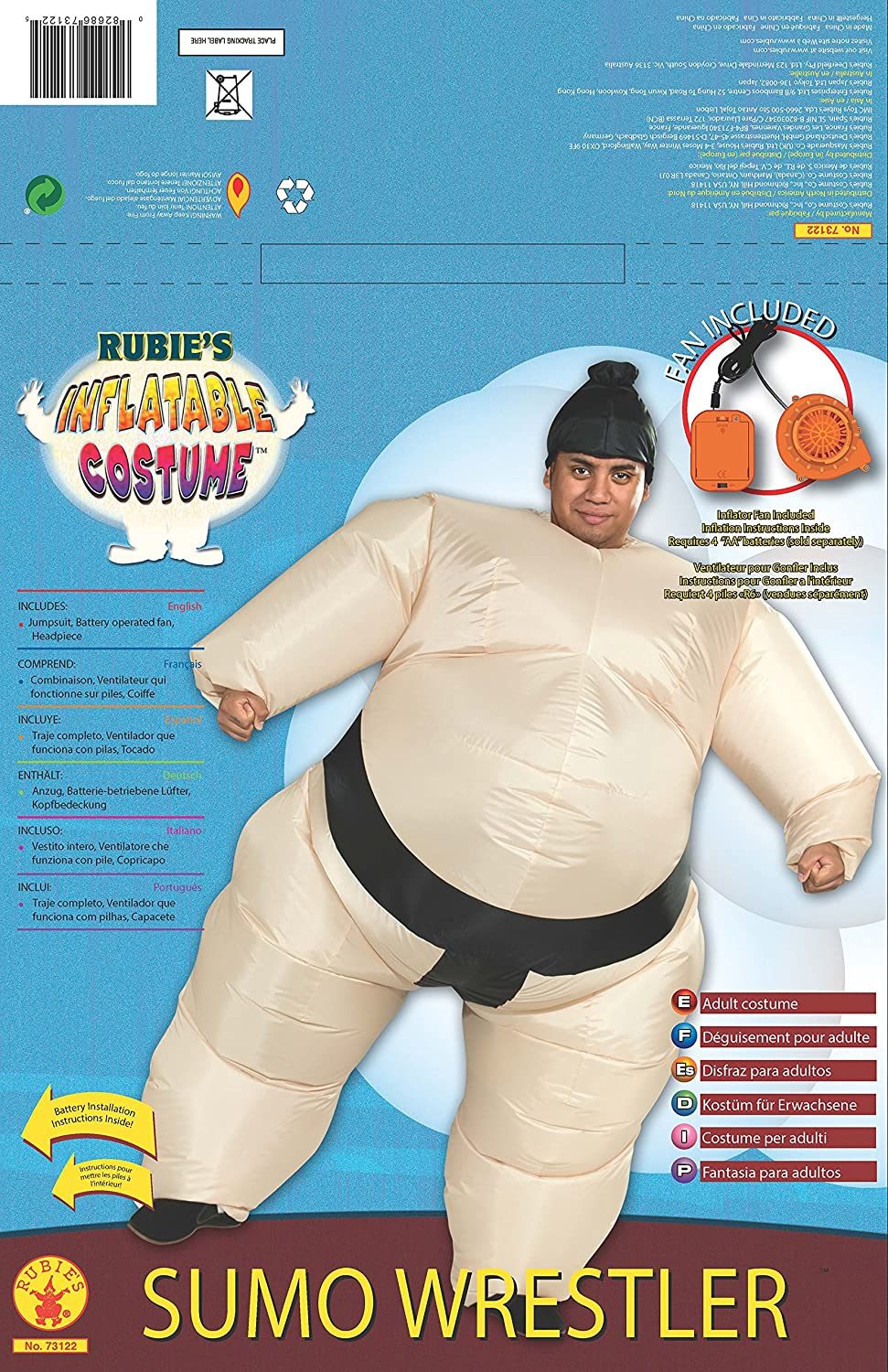 Rubies Costume Inflatable Sumo Costume with Battery Operated Fan