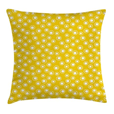 Amazon Ambesonne Yellow And White Throw Pillow Cushion Cover Extraordinary Round Yellow Decorative Pillow