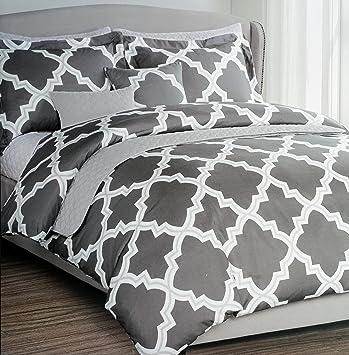 Max Studio Bedding 3 Piece Full / Queen Duvet Cover Set White And Light  Gray Geometric