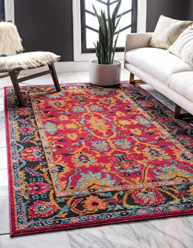 Unique Loom Medici Collection Abstract Botanical Vibrant Colors Pink Area Rug 4 0 x 6 0