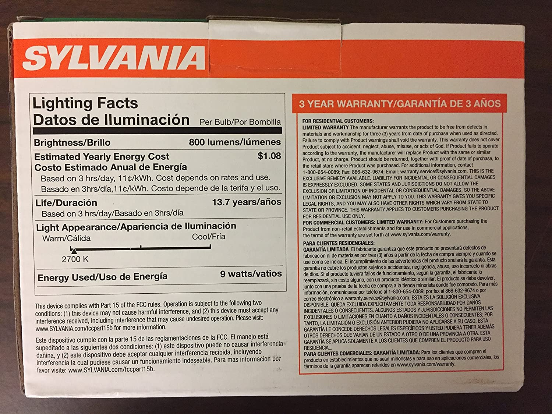SYLVANIA Ultra 6-Pack 9W (60 Watt Equivalent) Soft WhiteDimmable A19 LED Light Fixture Light Bulbs - - Amazon.com