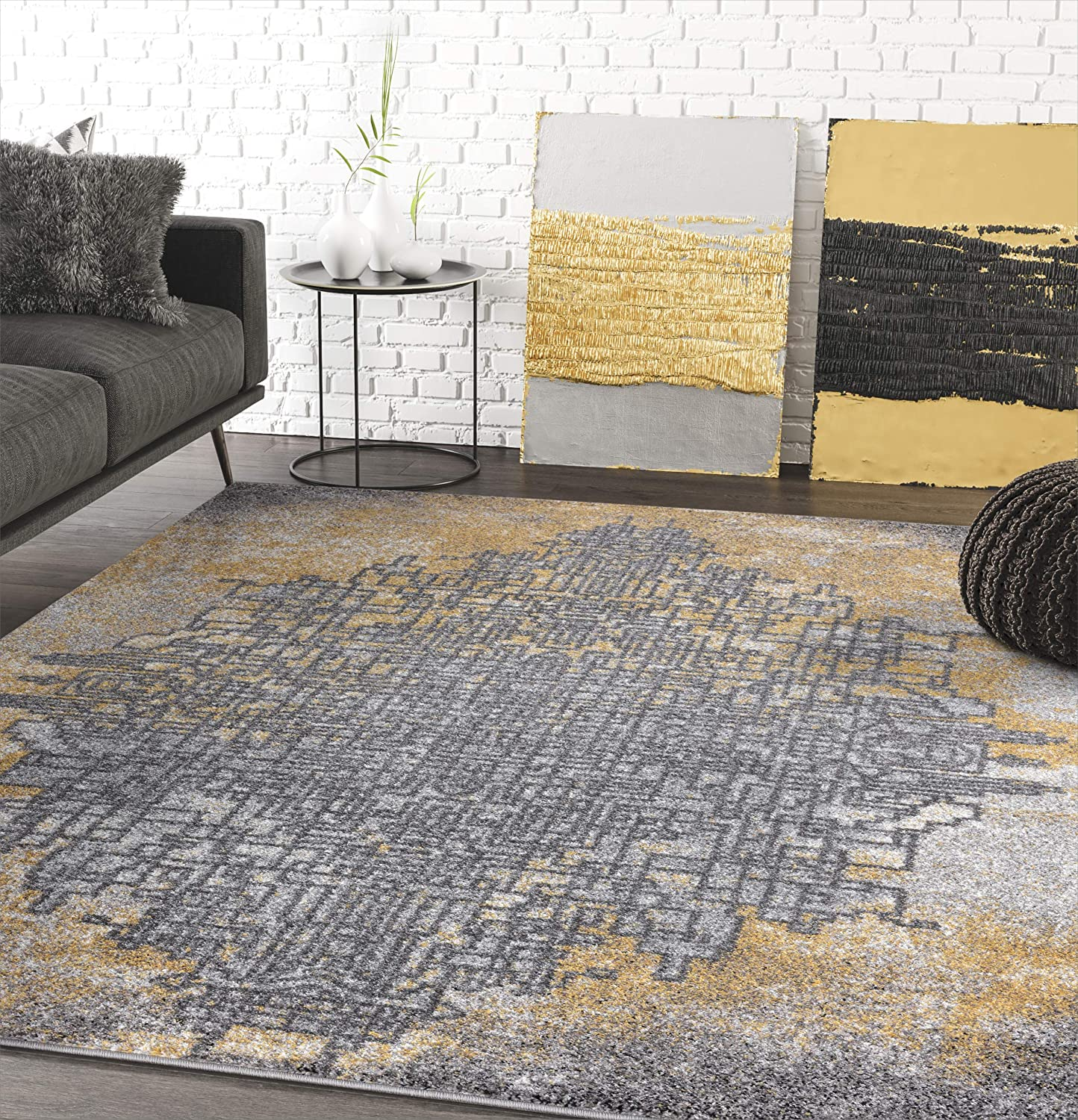 Amazon Com Grey Yellow Abstract Art Area Rug Contemporary Style Abani Rugs Laguna Collection Modern 5 3 X 7 6 Rectangle Accent Rug Kitchen Dining