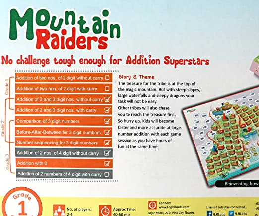 Amazon.com: MOUNTAIN RAIDERS addition board game with 3 digit ...