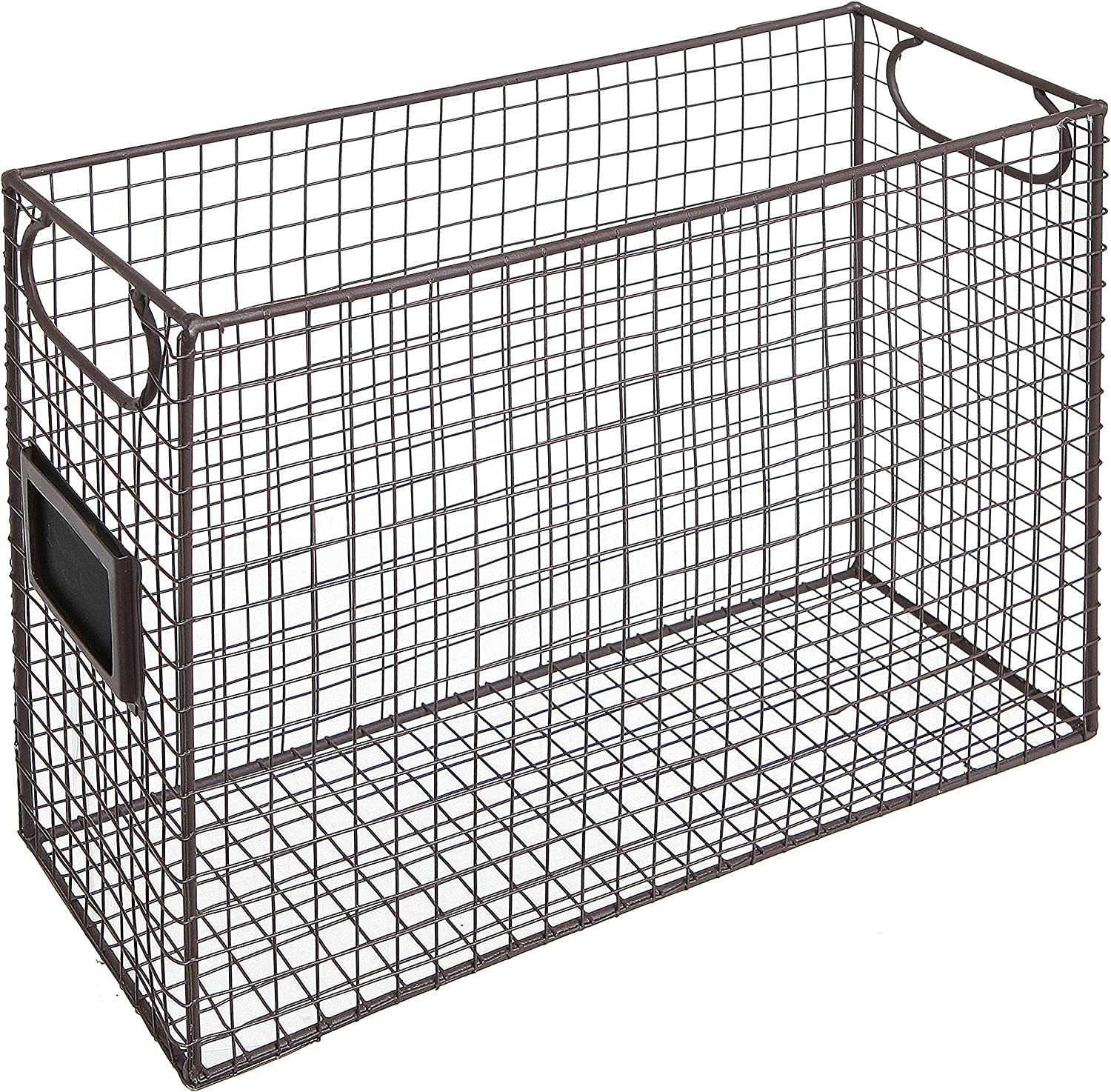 Mesh Wire Brown Metal Document Storage Container/Magazine Rack/File Folder Organizer w/Label Holder