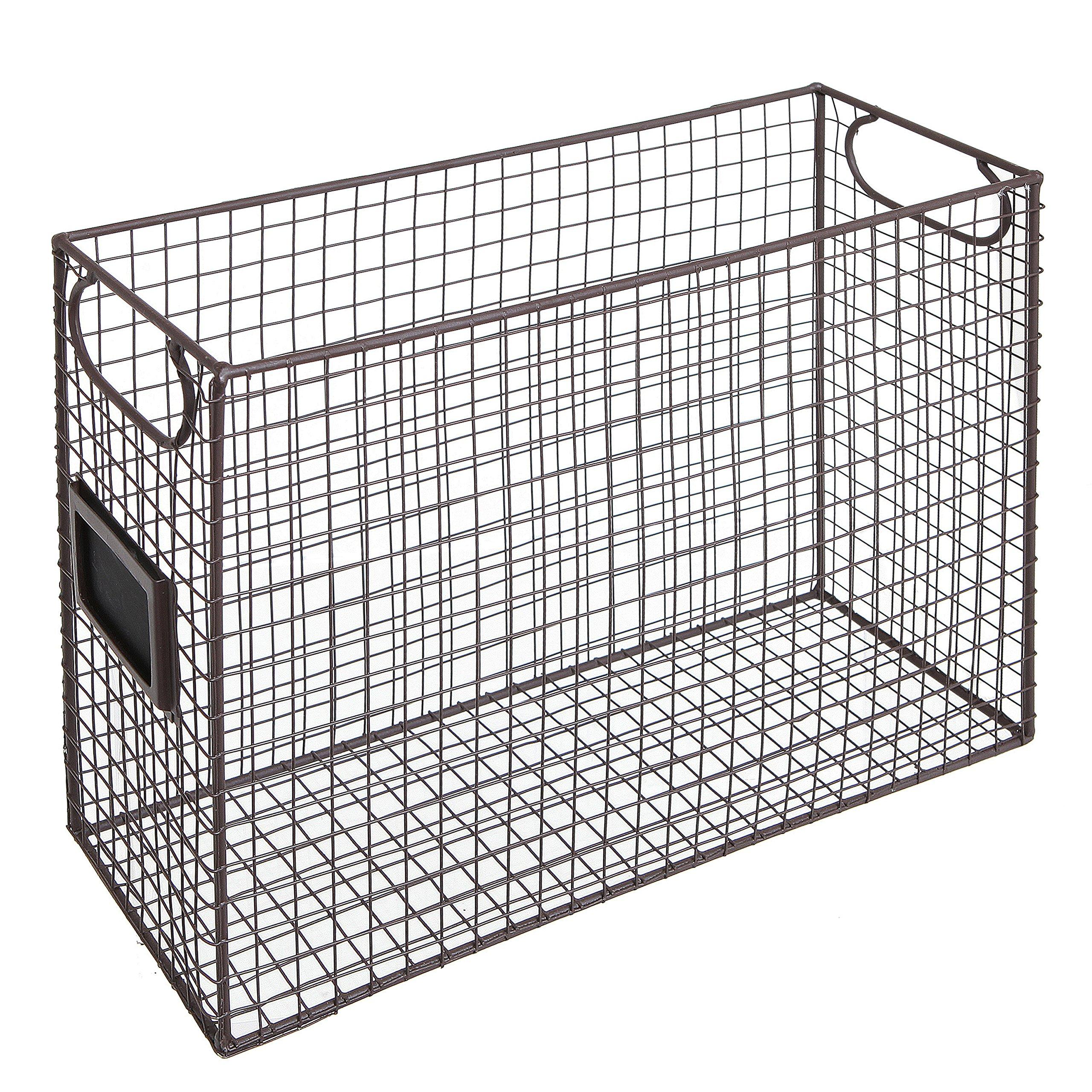 Mesh Wire Brown Metal Document Storage Container/Magazine Rack/File Folder Organizer w/Label Holder