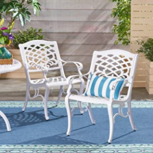 Christopher Knight Home 305314 Brody Outdoor White Cast Aluminum Arm Chair (Set of 2)