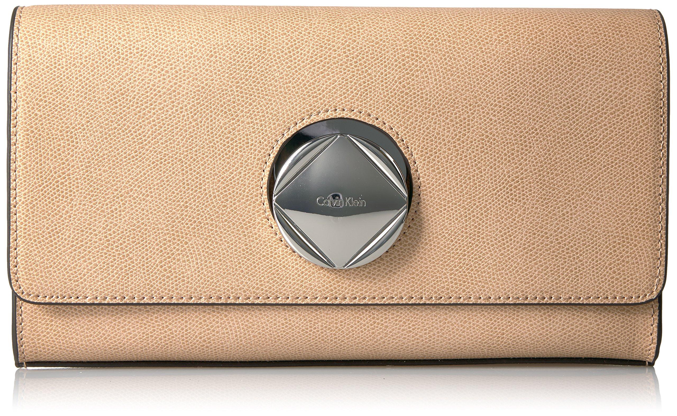 Calvin Klein Reese Mercury Structured Flap Clutch
