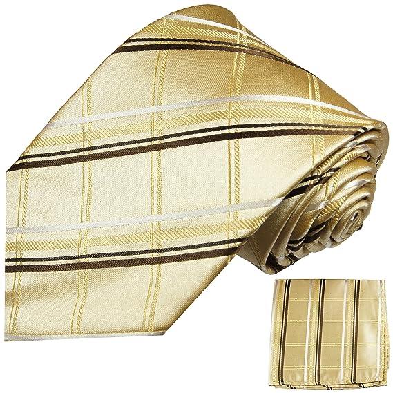 P.M. Krawatten Paul Malone Corbata de seda tartán de oro + pañuelo ...