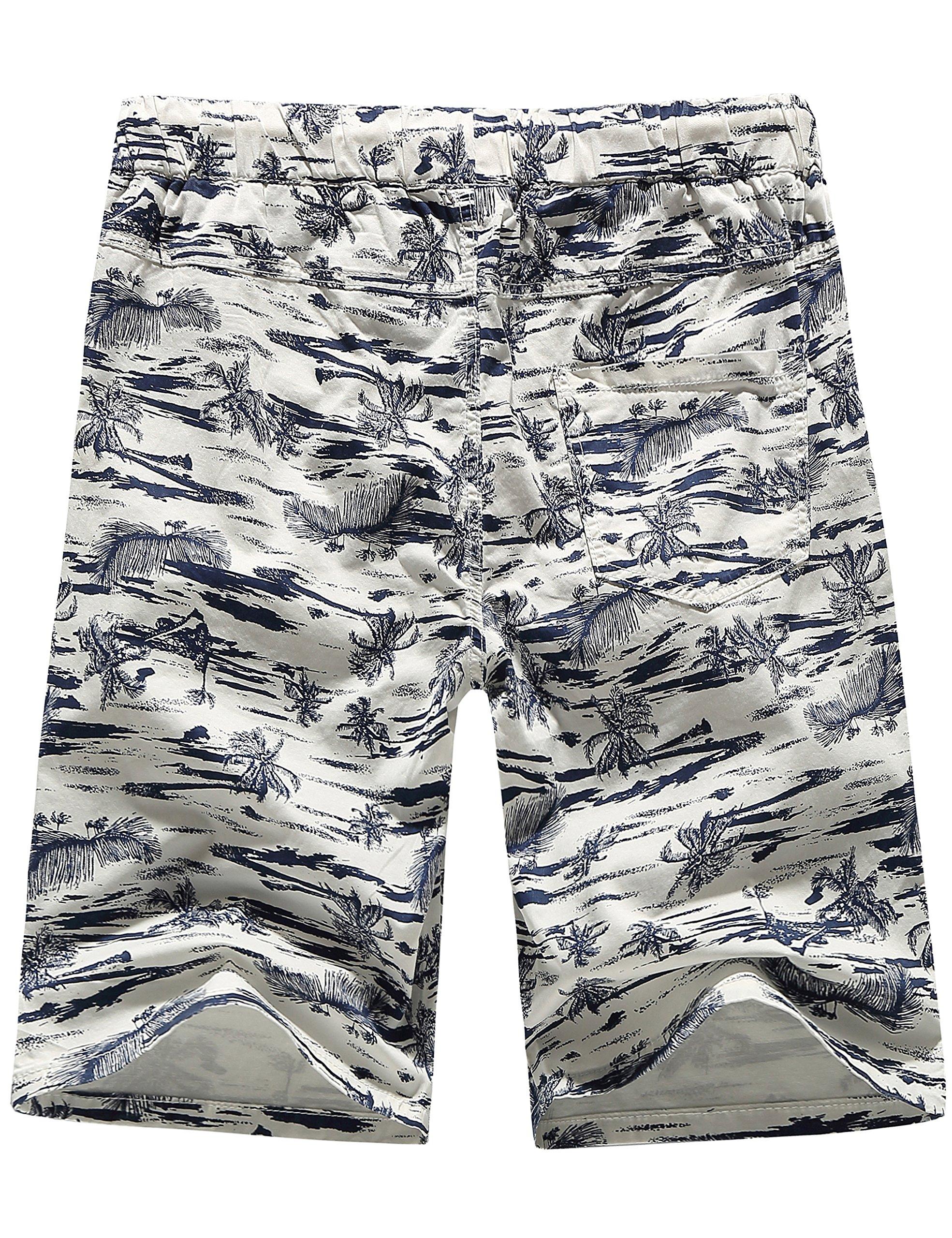 SSLR Men's Flat Front Hawaiian Casual Drawstring Board Shorts (34, White) by SSLR (Image #2)
