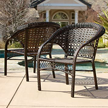 Malibu Patio Furniture ~ Outdoor Wicker Stacking Patio Dining Chair (Set Of  2)(
