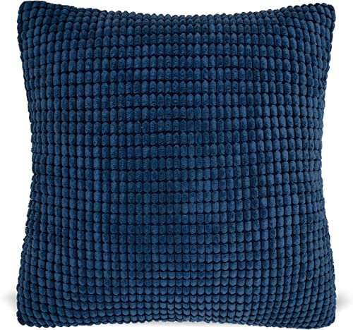 MAUBY HOME Soft Solid Textured Decorative Pillows for Couch or Bed, Includes Pillow Insert Navy