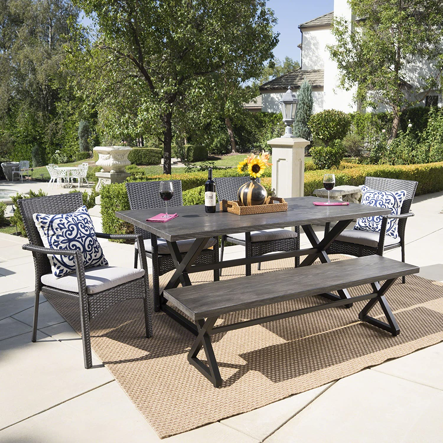 Christopher Knight Home Trina Outdoor 6 Piece Grey Aluminum Dining Set with Bench and Grey Wicker Dining Chairs with Grey Water Resistant Cushions