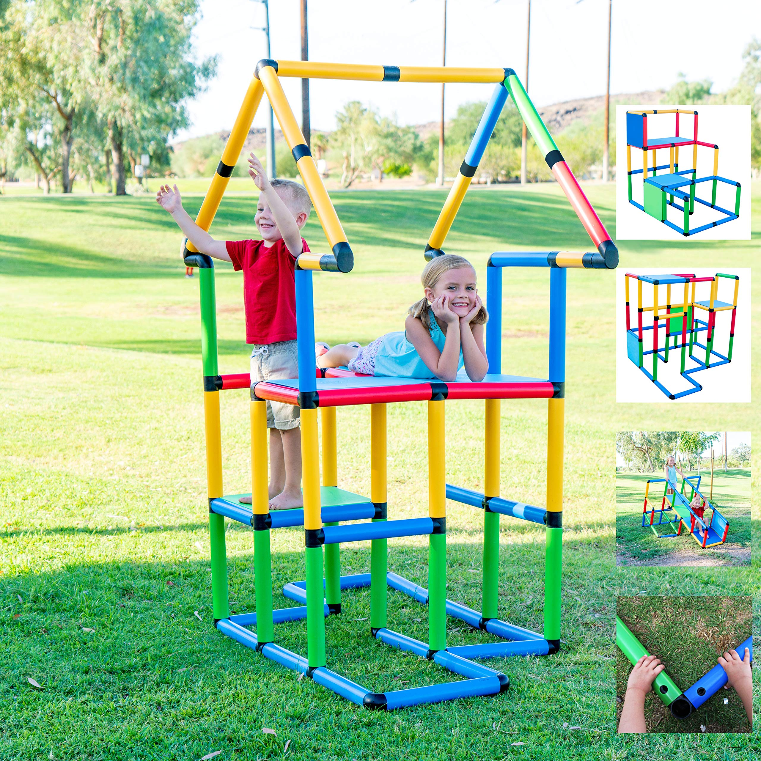 Funphix Deluxe 296 Piece Construction Toy Set - Building Play-Structures for Indoors & Outdoors - Fun & Educational Learning Toys for Ages 2 to 12 by Funphix (Image #1)