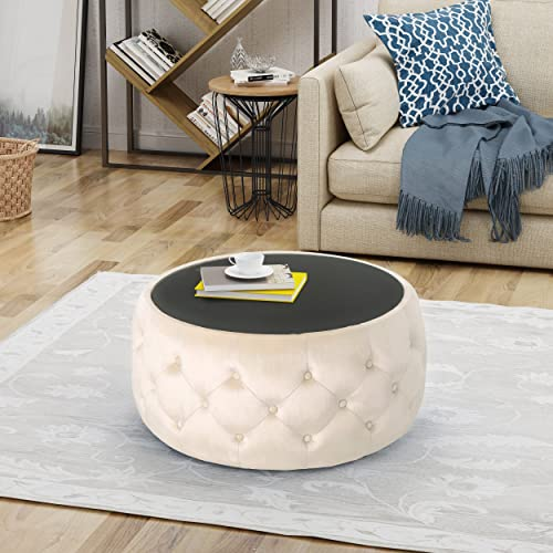 Christopher Knight Home Ivy Glam Velvet and Tempered Glass Coffee Table Ottoman, Beige, Black