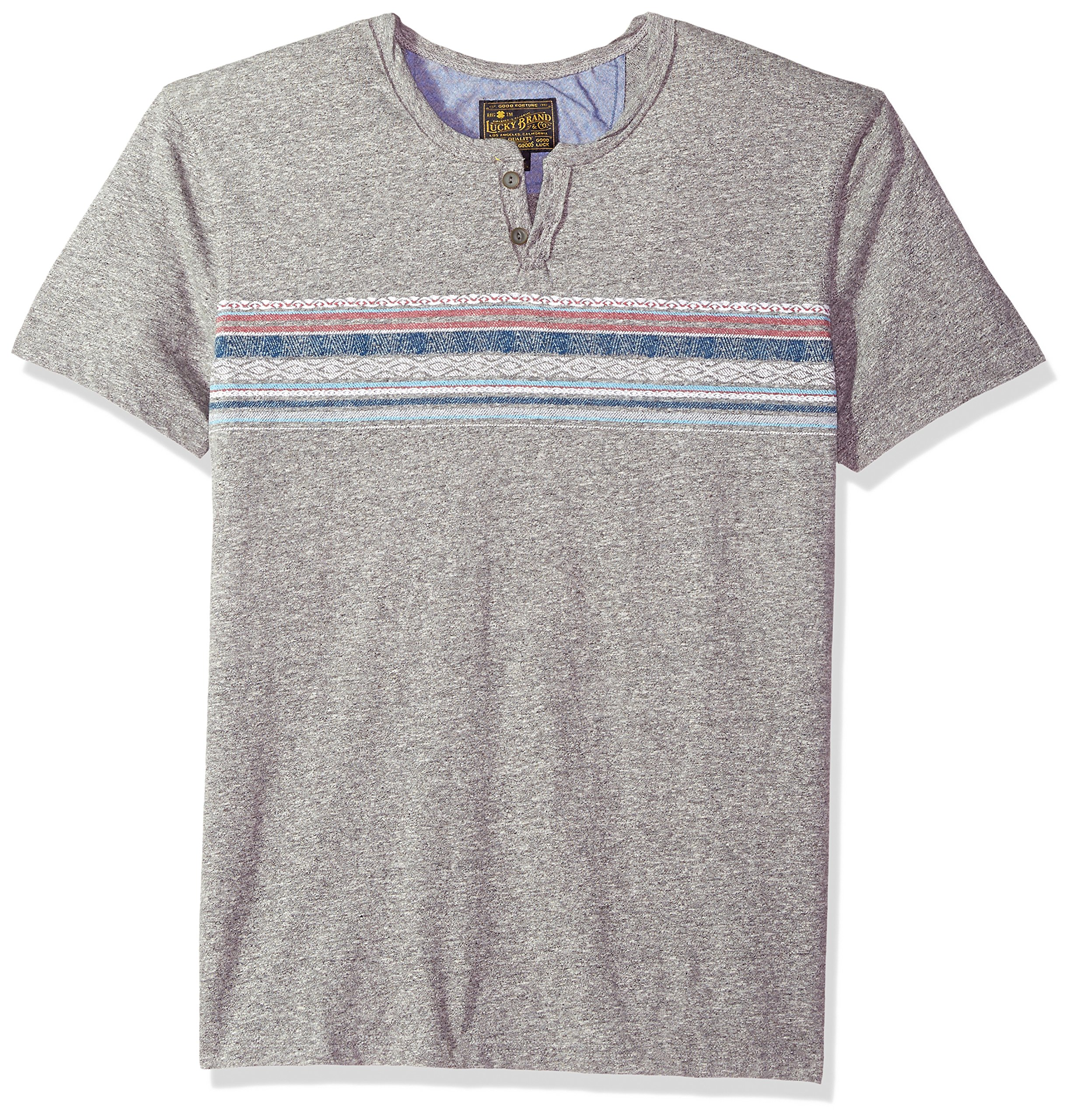 Lucky Brand Men's Button Notch Neck Tee, Heather Grey/Multi, S by Lucky Brand (Image #1)