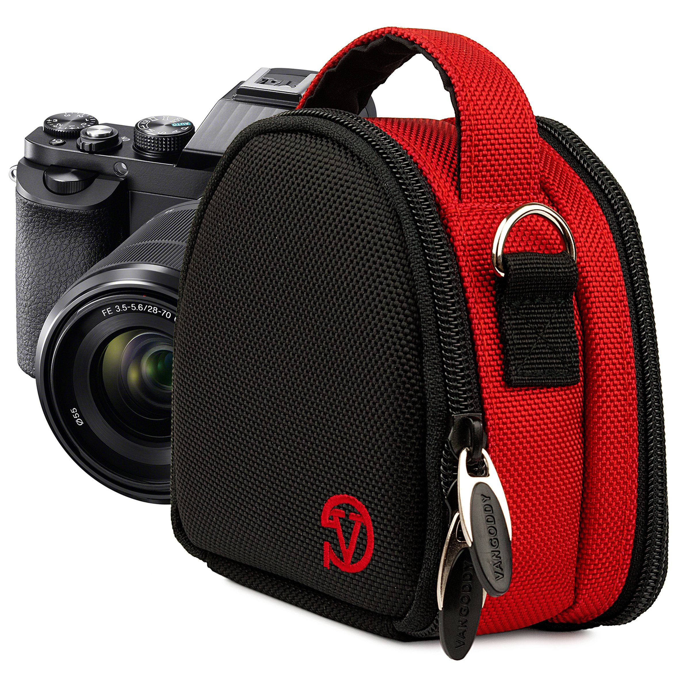 VanGoddy Compact Mini Laurel Red Camera Pouch for Samsung : Smart (WB800F, WB250F, WB150F, WB30F, DV150F, WB50F, WB35F), ST72