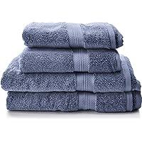 Pinzon - Juego de toallas de algodón Pima (2 toallas de baño + 2 toallas de mano), color azulón