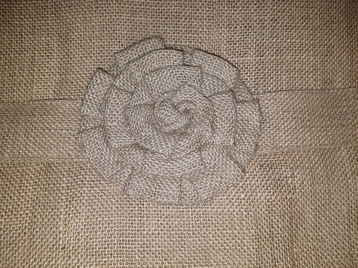 AT Primitive Country Burlap Rose and Ruffle French Door Panel Curtain