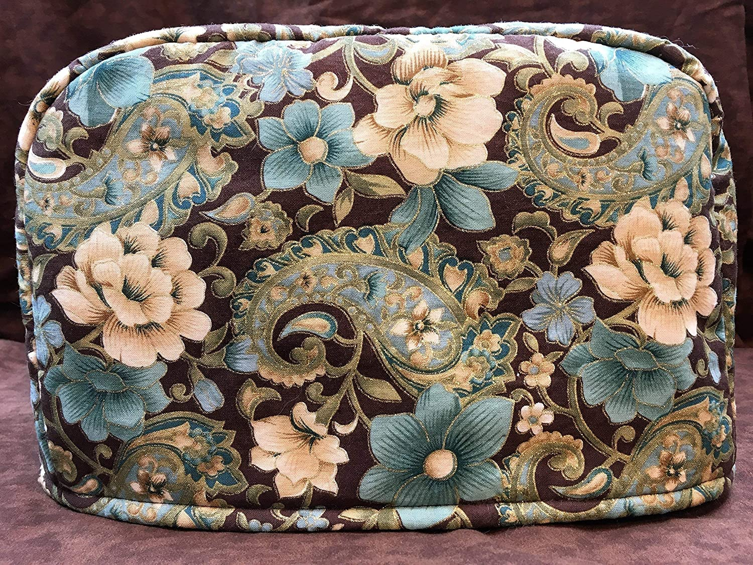 x 7.5 h Teal and Cream Flowers and Paisley on Brown Reversible 2-Slice Toaster Cover 11.5 w x 5.5 l