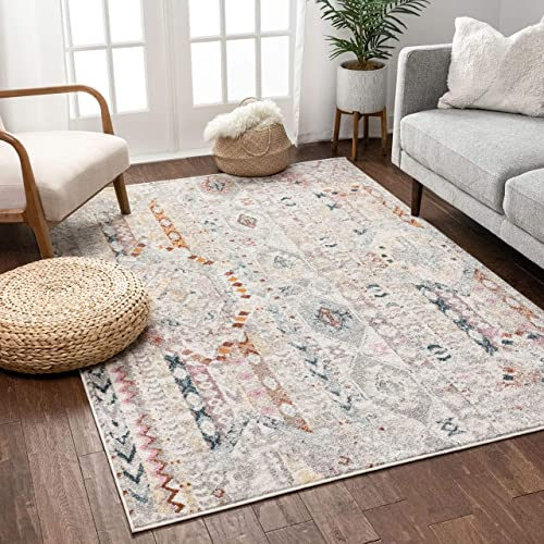 Well Woven Ollie Vintage Ivory Tribal Diamond Stripes Pattern Area Rug 8×10 7 10 x 9 10