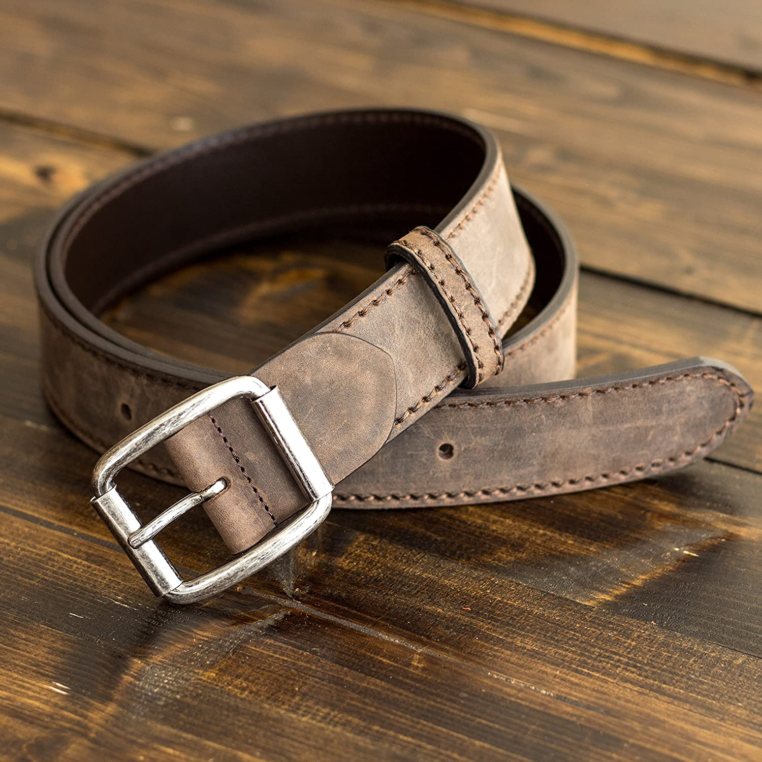 Pegai Personalized Distressed Leather Belt for Men, Rustic Minimalist Leather Belt, Monogrammed Unique Belt - Logan Chestnut