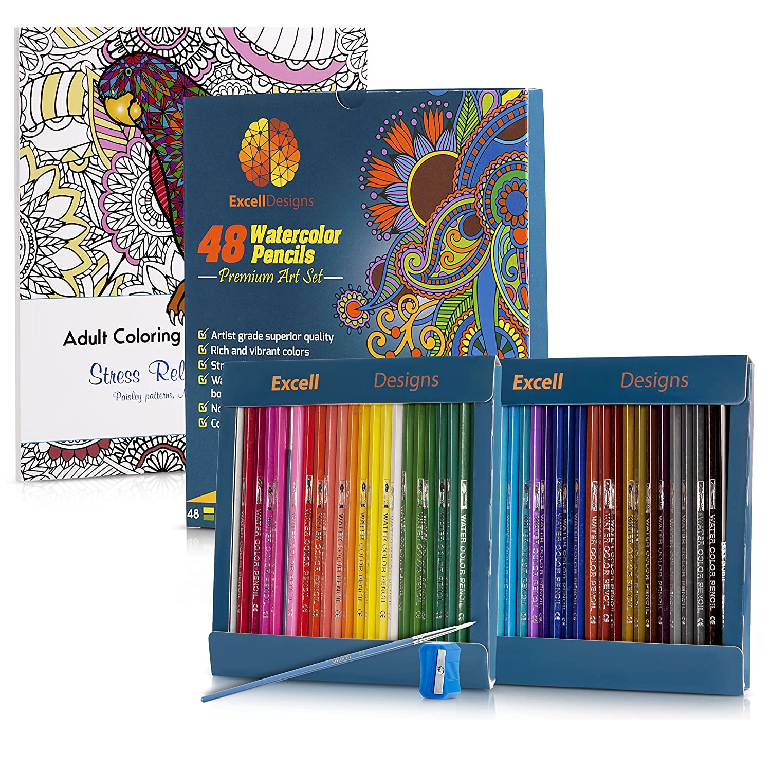 Amazon.com: 48 Watercolor Pencils with Adult Coloring Book ...