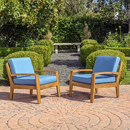 Parma 4 Piece Outdoor Wood Patio Furniture Chat Set w/ Water Resistant  Cushions (Set - Amazon.com : Parma 4 Piece Outdoor Wood Patio Furniture Chat Set W
