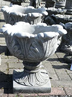 LARGE TULIP VASE PAIR   HAND CAST STONE GARDEN ORNAMENT / FLOWER PLANTER /  URN