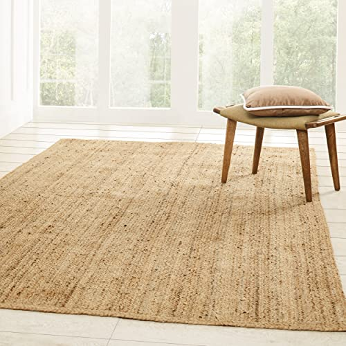 Superior Hand Woven Natural Fiber Reversible High Traffic Resistant Braided Jute Area Rug, 4 x 6