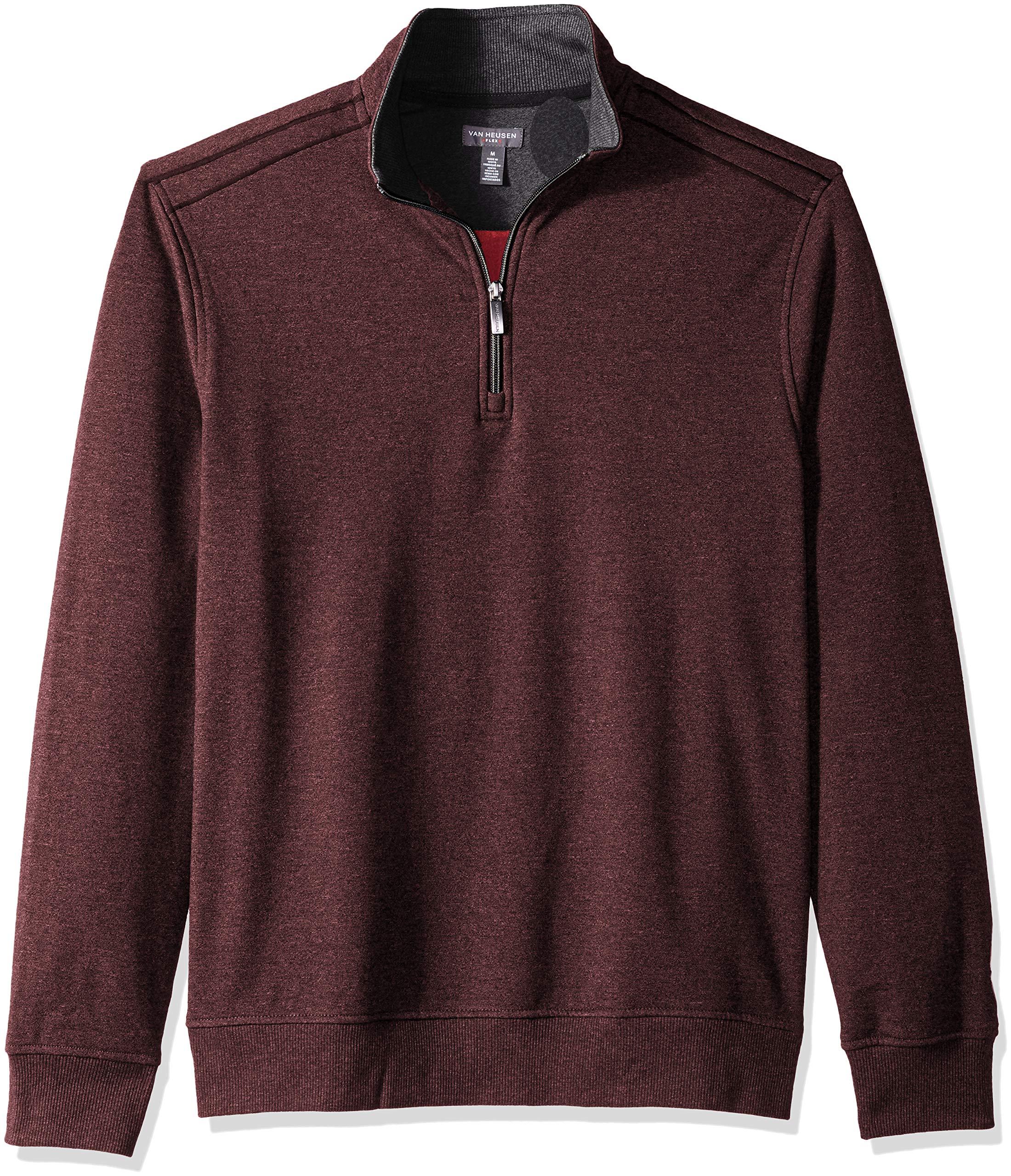Van Heusen Men's Flex Long Sleeve 1/4 Zip Soft Sweater Fleece, Red Merlot, Large by Van Heusen