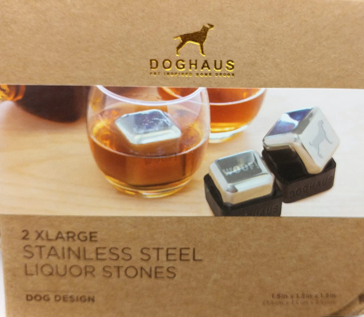 Doghaus Stainless Steel Liquor Whiskey Stones with Stands Set of 2 XL Dog Design Paws 1.5' x 1.5' x 1.5'