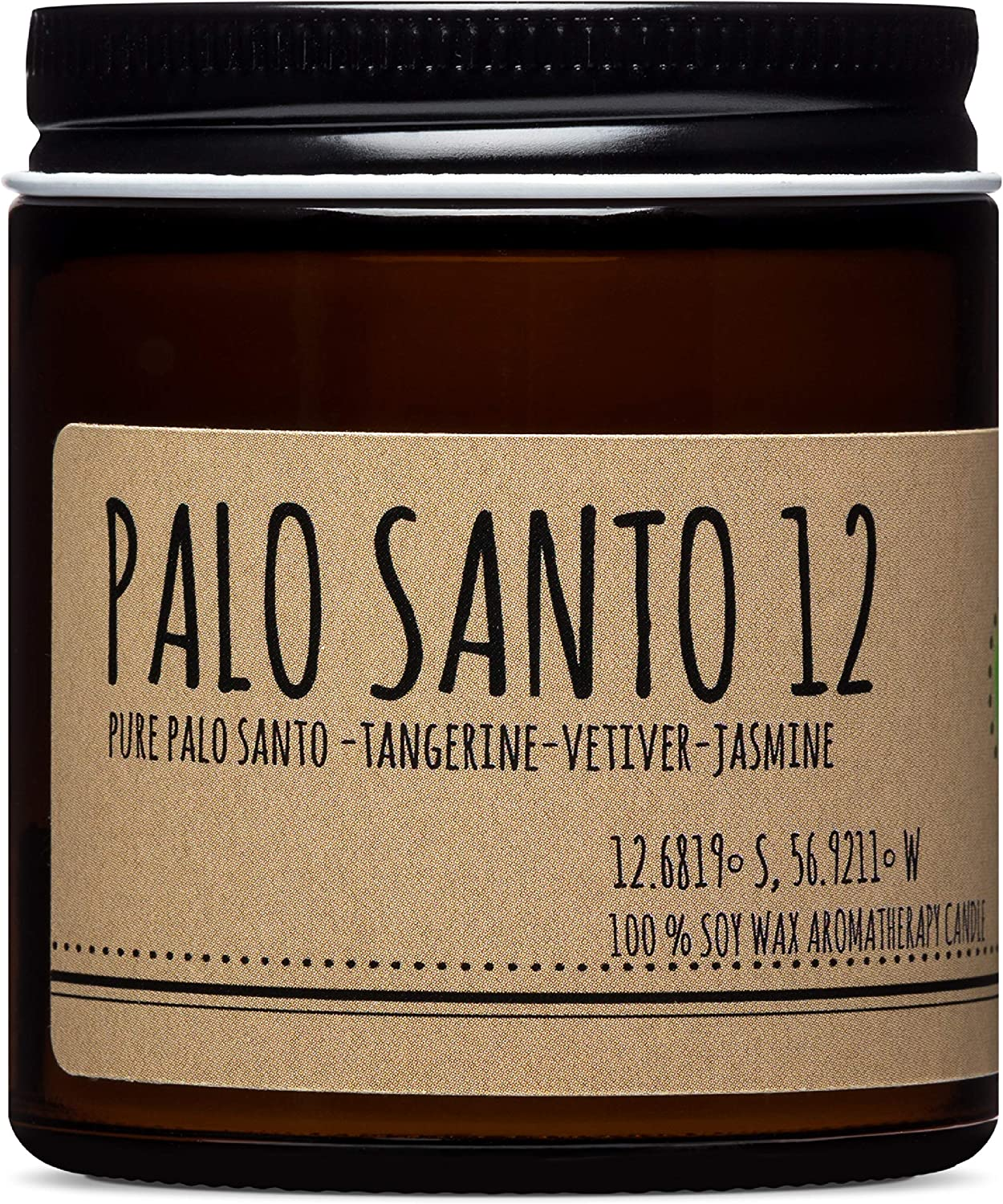 Maison Palo Santo Soy Wax Candle - Palo Santo, Tangerine, Vetiver and Jasmine Natural Scented Candle for Aromatherapy, Negative Energy Cleansing, Chakra Balancing and Meditation, 4 oz