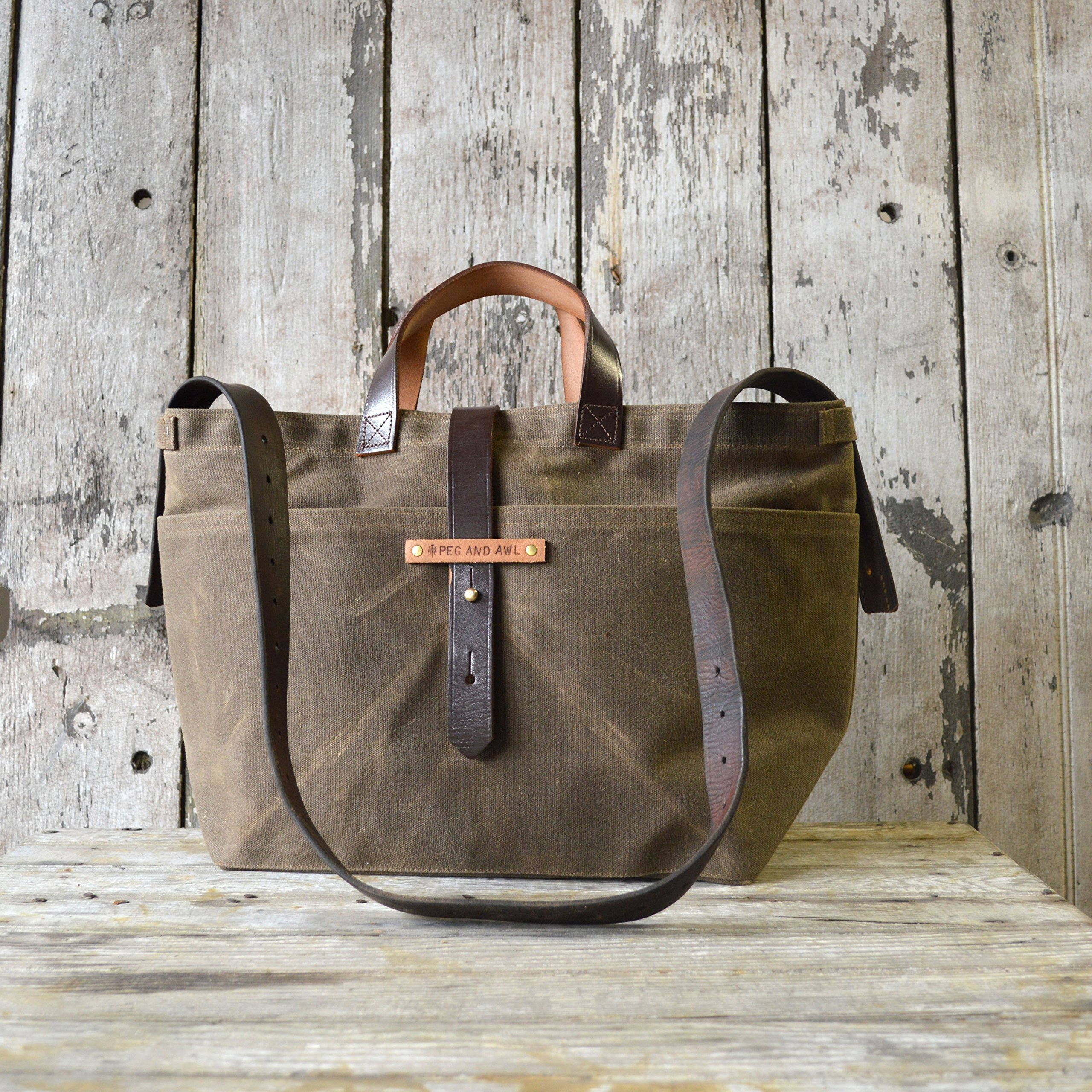 Waxed Canvas Tote in Truffle with Zipper by Peg and Awl