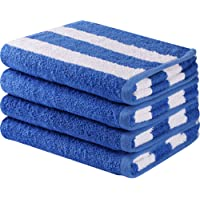 Cotton Hand Towels in Cabana Stripe (Blue, 4-Pack,16 x 28 inches) - Multipurpose Use Bath, Hand, Face, Gym Spa Utopia Towels