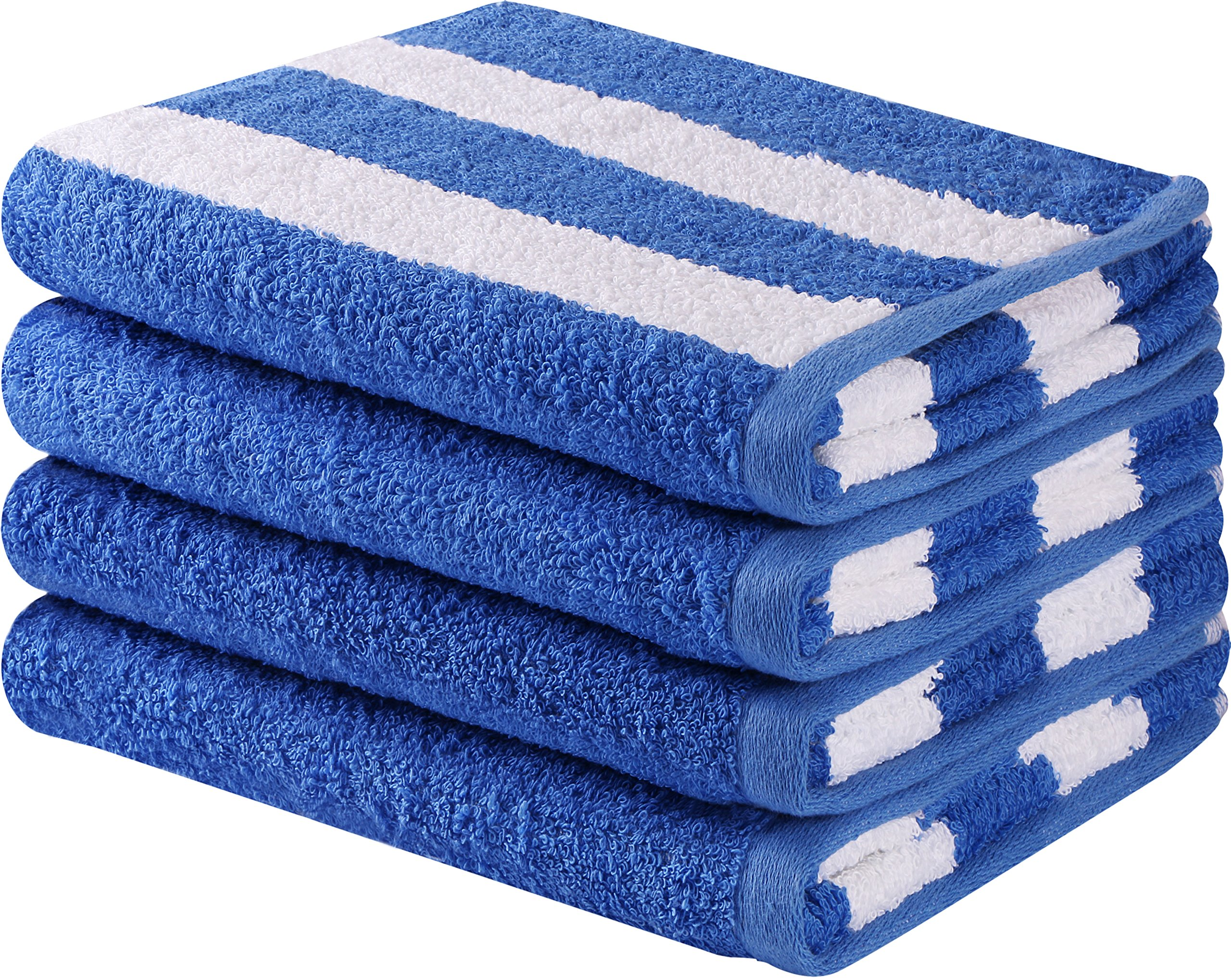 Utopia Towels Cotton Large Hand Towel Set (4 Pack, Stripe Blue - 16 x 28 Inches) - Multipurpose Bathroom Towels for Hand, Face, Gym and Spa